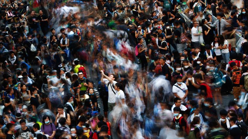 Demonstranten im Finanzdistrikt von Hongkong
