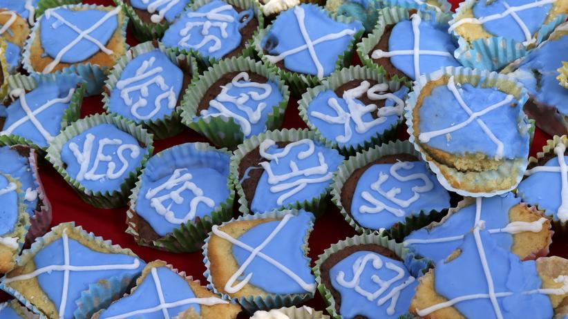 """Schottland: Kekse, die Mitglieder der Gruppe """"Engländer für ein Yes"""" am Wochenende an der Grenze zu England verteilten – mit der Aufforderung, am 18. September für die Unabhängigkeit zu stimmen"""