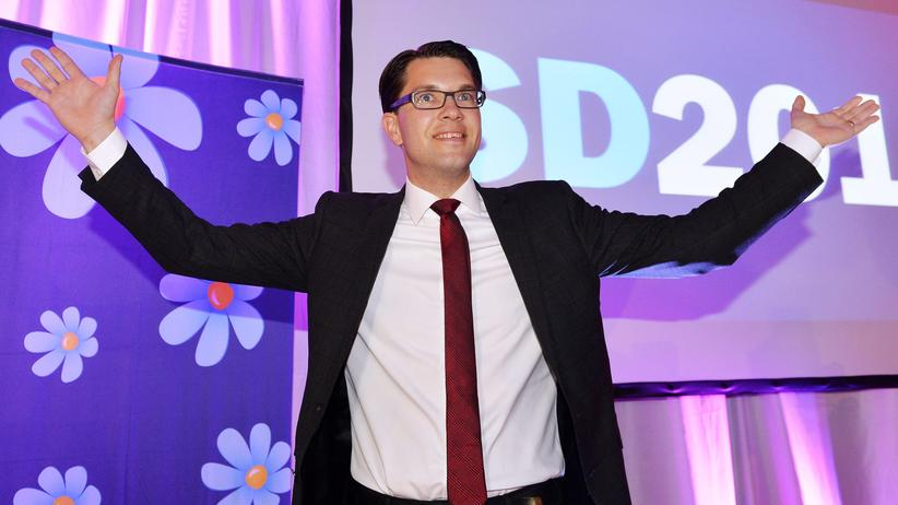 Schwedendemokraten: Jimmy Åkesson, Parteichef der Schwedendemokraten, nach der Wahl am Sonntag