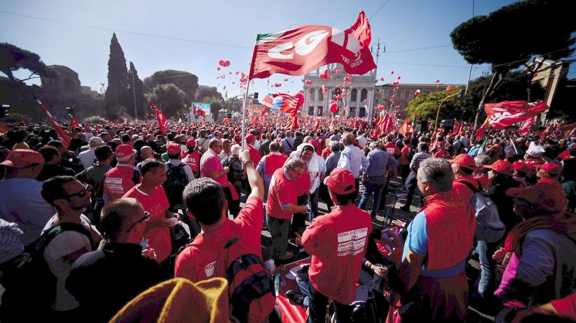 Demonstration Rom Renzi Reformen