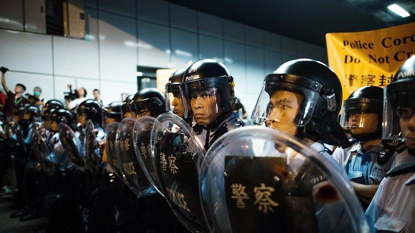 Hongkong: Polizisten beim Einsatz in Hongkong
