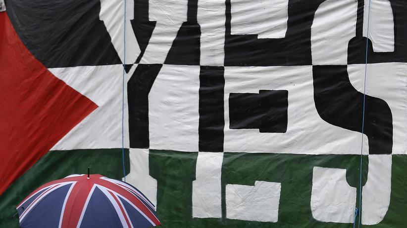 Palästinensische Flagge auf einer Demonstration in London, 13.10.2014