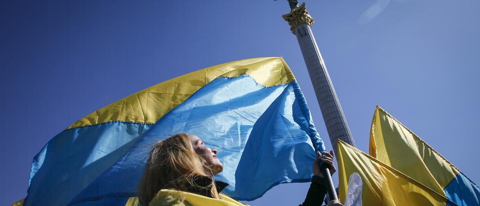 Aktivistin auf dem Maidan in Kiew