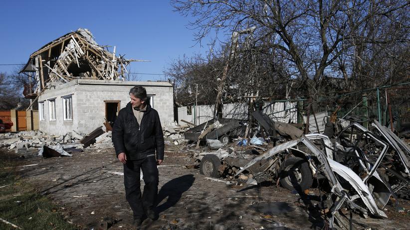 Ukraine: Ein zerstörtes Gebäude in Donezk