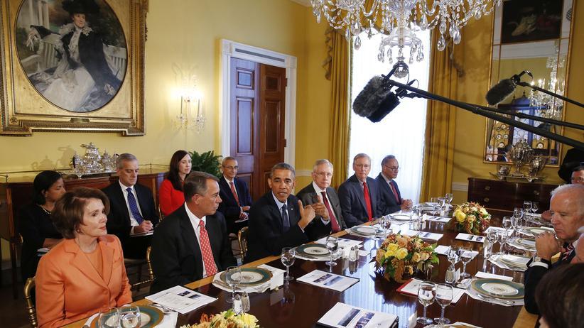 US-Wahl : US-Präsident Barack Obama mit Vertretern von Demokraten und Republikanern zum gemeinsamen Arbeitsessen