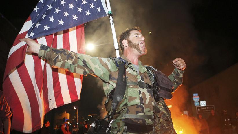 Terrorbekämpfung: Veteran der US-Armee während einer Demonstration in Ferguson