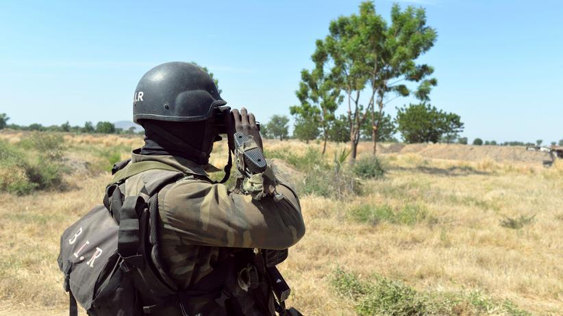 Ein kamerunischer Soldat nahe der Grenze zu Nigeria