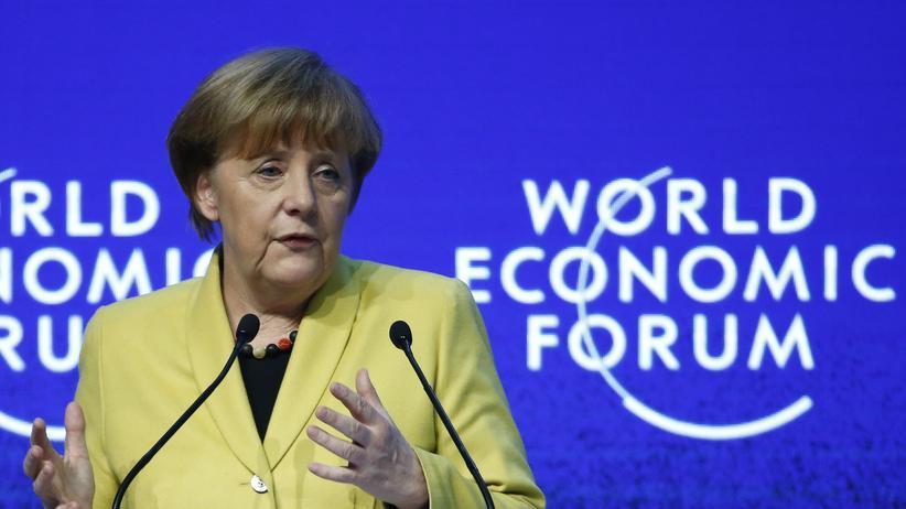 Bundeskanzlerin Angela Merkel auf dem Weltwirtschaftsgipfel in Davos