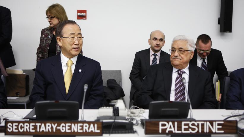 Vereinte Nationen : UN-Generalsekretär Ban Ki Moon und Palästinenserpräsident Mahmud Abbas