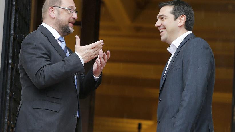 Griechenland: EU-Parlamentspräsident Martin Schulz und Griechenlands Ministerpräsident Alexis Tsipras bei ihrem Treffen in Athen