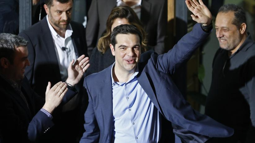 Syriza-Chef Alexis Tsipras lässt sich feiern