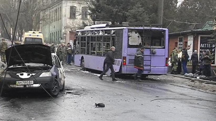 Ukraine: Beim Artilleriebeschuss wurde dieser Bus in Donezk zerstört, viele Zivilisten starben.