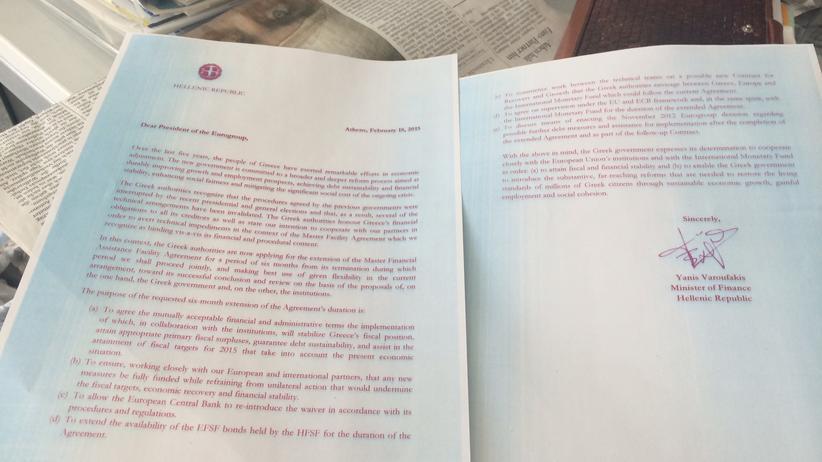 Der Brief der griechischen Regierung an die Eurogruppe