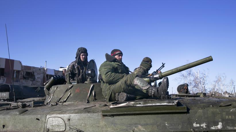 Ukraine: Prorussische Separatisten in dem Dorf Nikishine nahe Debalzewe