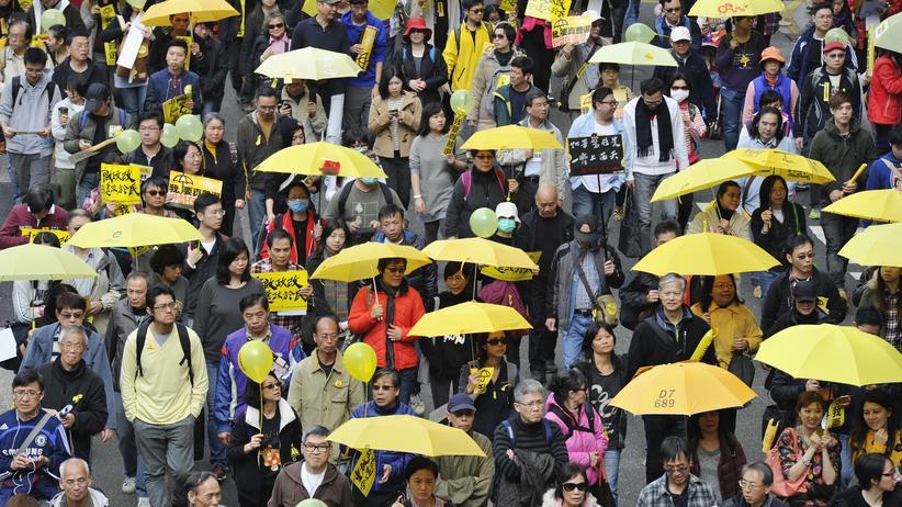 Hongkong Protest Demonstration Regenschirm