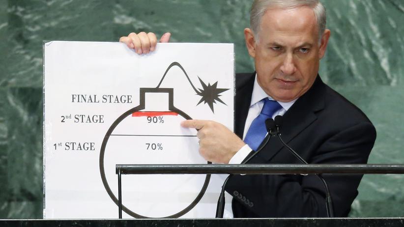 Israel: Israels Ministerpräsident Benjamin Netanjahu mit der Zeichnung einer Bombe bei seiner Rede in New York