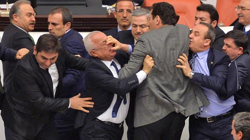 Abgeordnete im türkischen Parlament prügeln sich in der Nacht auf diesen Freitag