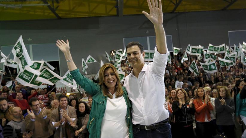 Spanien: Andalusiens Ministerpräsidentin Susana Díaz und der Chef der spanischen Sozialisten, Pedro Sánchez