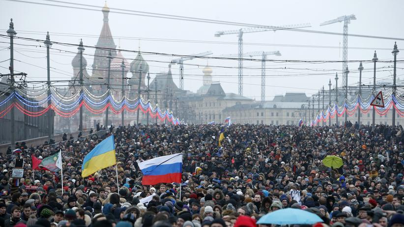 Moskau Nemzow Gedenkmarsch