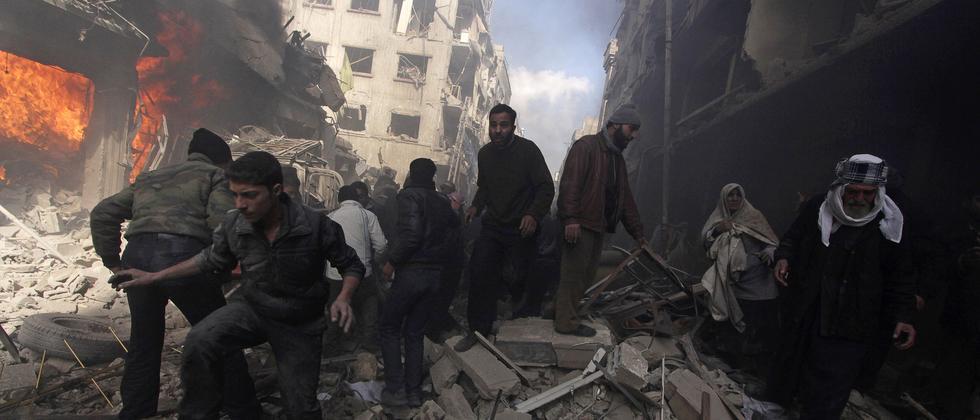 Damaskus Luftangriff Zerstörungen