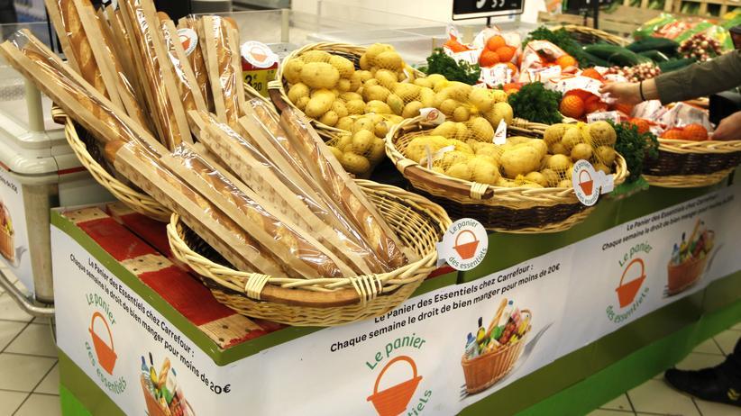 Ernährung: Lebensmittel auf einem Markt in Charenton, bei Paris