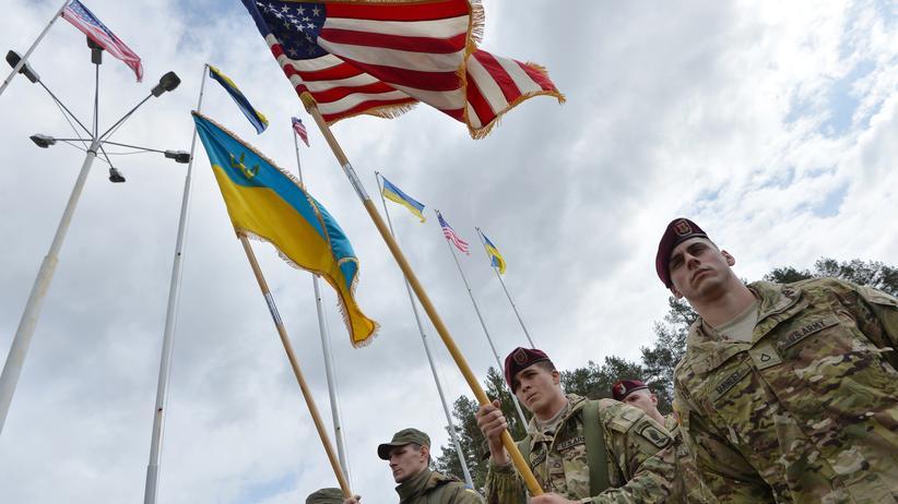 Ukraine: Ukrainische und amerikanische Soldaten beim Auftakt einer gemeinsamen Übung in der Nähe von Lviv/Lemberg