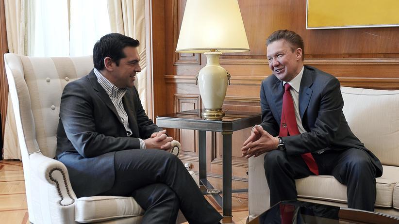 Turkish Stream: Griechenlands Ministerpräsident Alexis Tsipras mit Gazprom-Chef Alexei Miller im April.