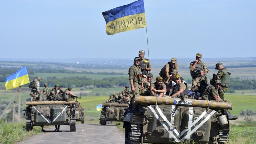 Ukrainische Soldaten im teilweise von Separatisten besetzten Verwaltungsbezirk Donezk in der Ostukraine