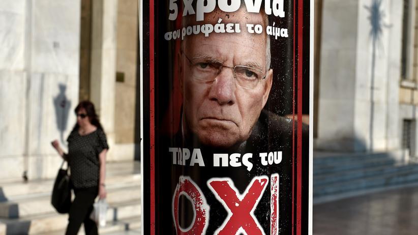 Nein zu Schäuble, diese Plakate hängen in Athen fast an jeder Ecke