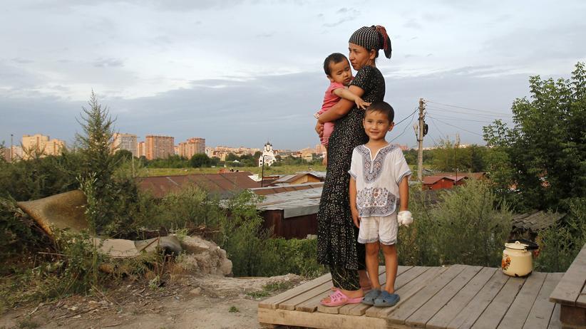 Flüchtlinge: Eine Migrantin aus Zentralasien am Rande von Moskau (Archivbild)