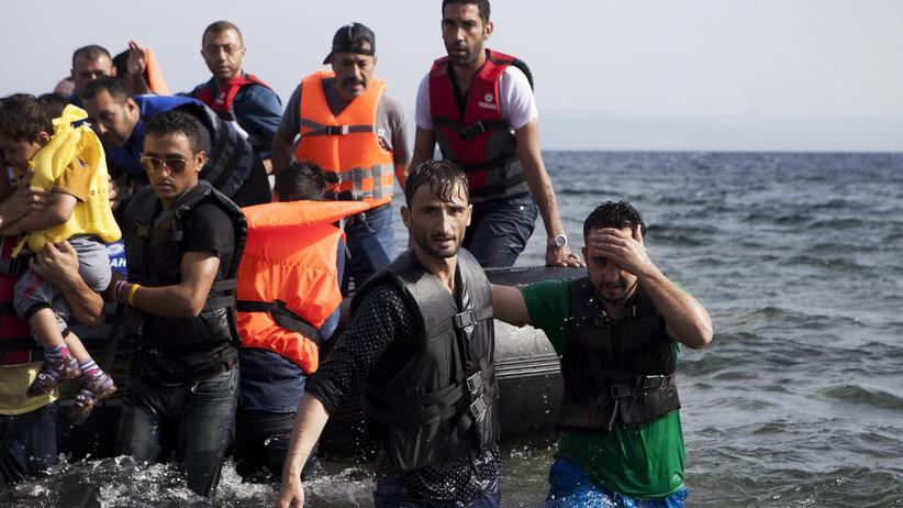 Syrien: Syrische Flüchtlinge erreichen die griechische Insel Lesbos.