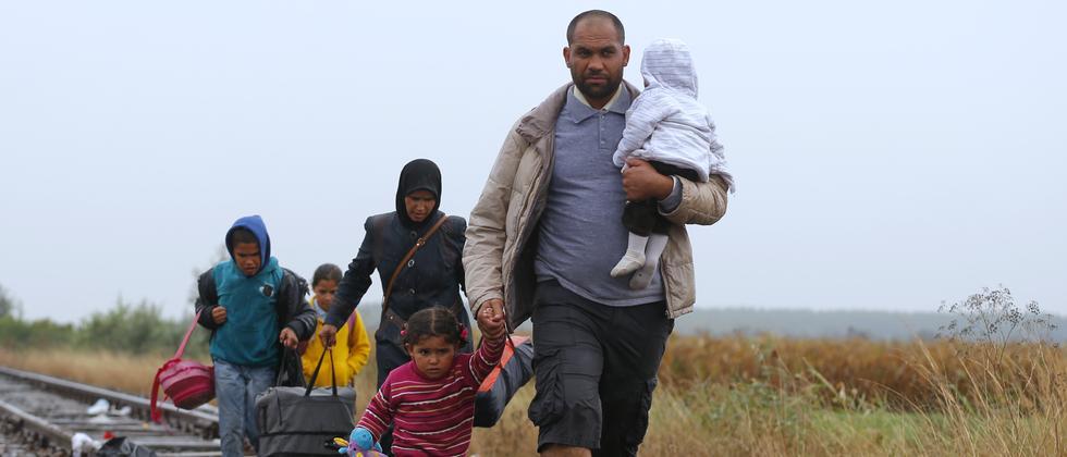 Flüchtlinge auf ihrem Weg durch Ungarn