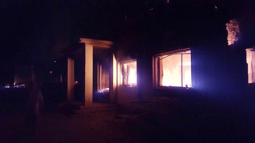 Brennendes Krankenhaus in Kundus