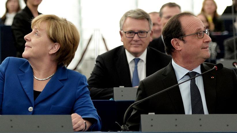 Politik, Merkel und Hollande, Angela Merkel, François Hollande, François Mitterrand, Straßburg, Bundeskanzler
