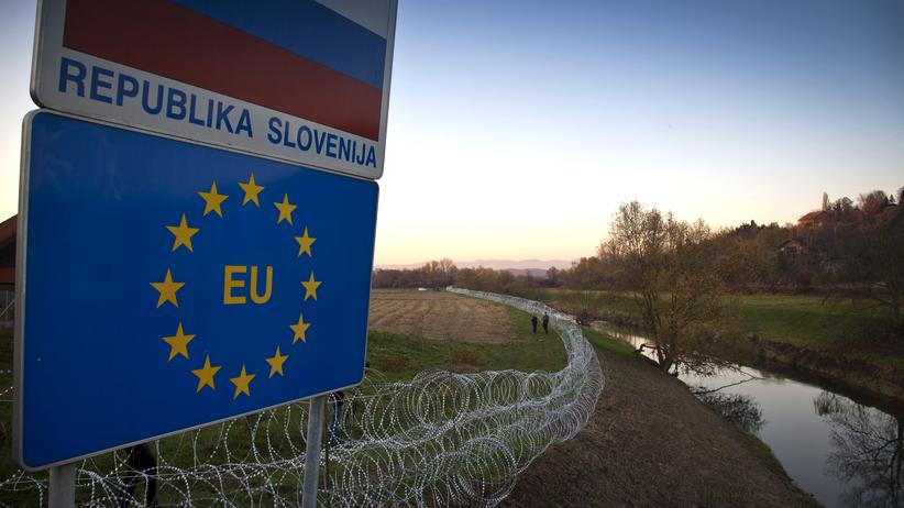 Grenzaun in Rigonce, Slowenien