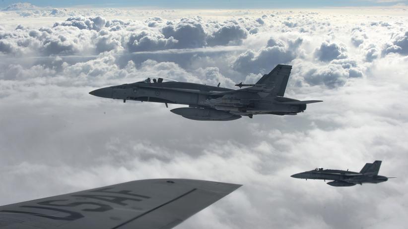 Kampfjets der Anti-IS-Koalition bei einer Mission über dem Irak