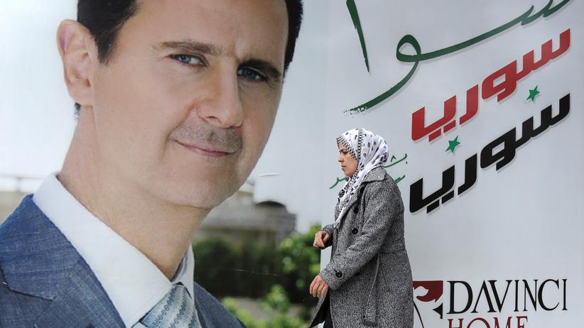 Syrien-Konflikt: Ein Bild des syrischen Präsidenten Baschar al-Assad in Damaskus