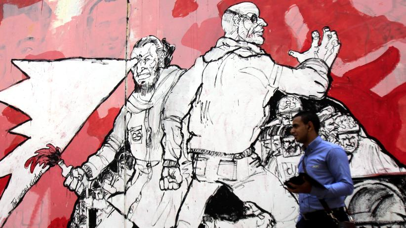Fünf Jahre Arabischer Frühling: Ein Graffiti am Tahir-Platz im Herzen von Kairo, das gegen die Militärdiktatur in Ägypten protestiert, die 2013 in dem Land die Macht übernommen hat