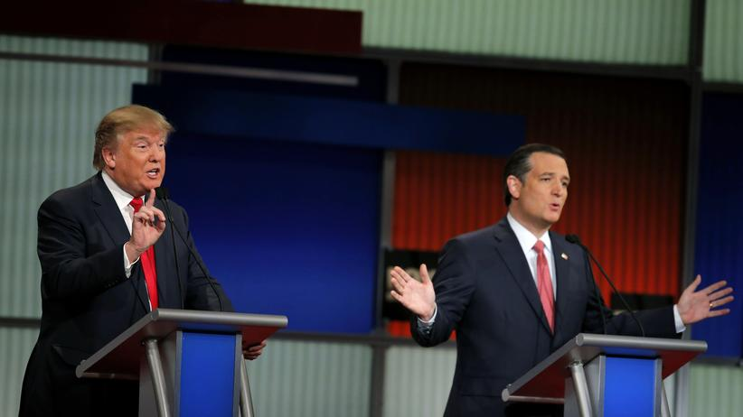 US-Wahlen: TV-Debatte in den USA: Wortduell zwischen Donald Trump (links) und Ted Cruz
