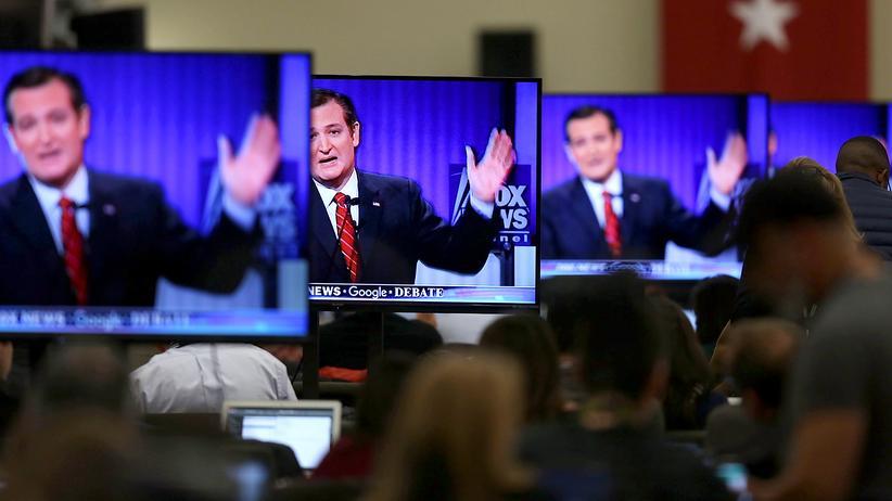 Wahl in den USA: Übertragung einer Debatte der republikanischen Präsidentschaftsbewerber auf Fox News in Iowa, im Bild: Ted Cruz