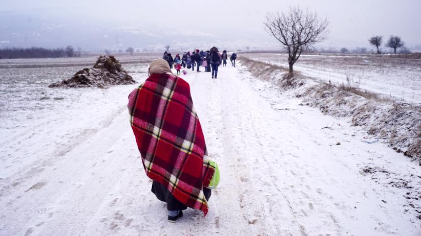 Flüchtlinge laufen bei Minustemperaturen über ein Feld nahe der serbisch-kroatischen Grenze.