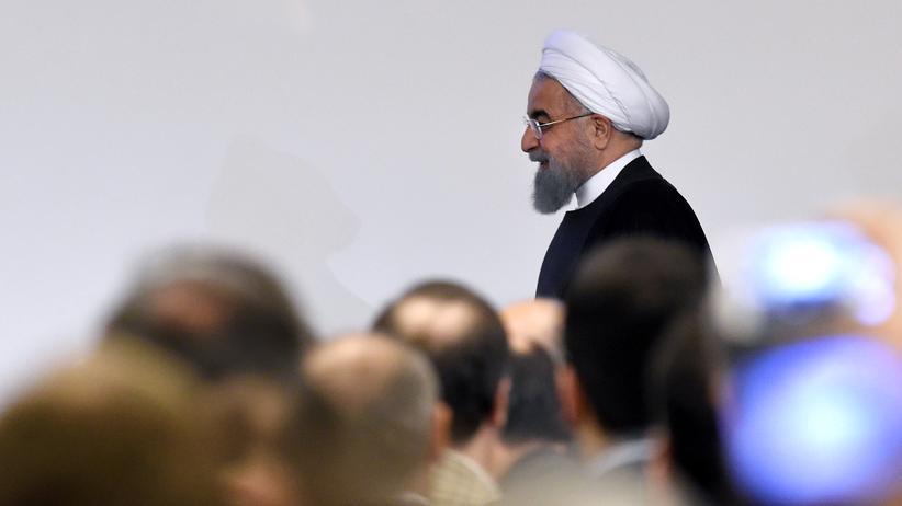 Hassan Ruhani: Der iranische Präsident Hassan Ruhani als Gast eines iranisch-italienischen Wirtschaftsforums in Rom