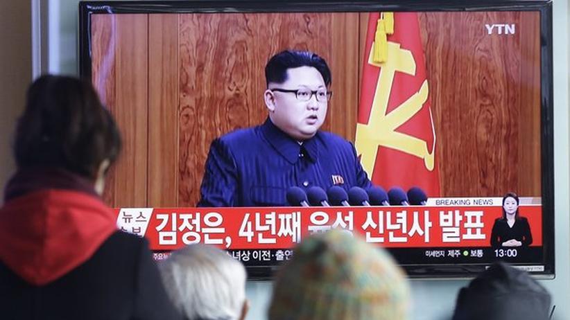 Nordkorea: Kim Jong Un bei seiner Neujahrsansprache im nordkoreanischen Fernsehen.