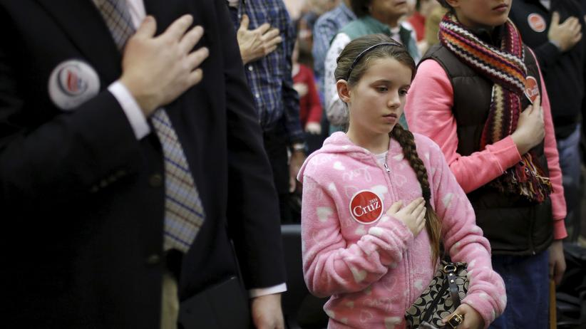 US-Vorwahlen: Publikum bei einer Wahlkampfveranstaltung von Ted Cruz in Wilton im US-Bundesstaat Iowa