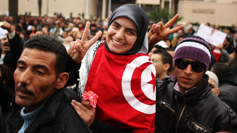 """Der Verpasste Frühling"": Demonstranten in Tunis im Januar 2011"