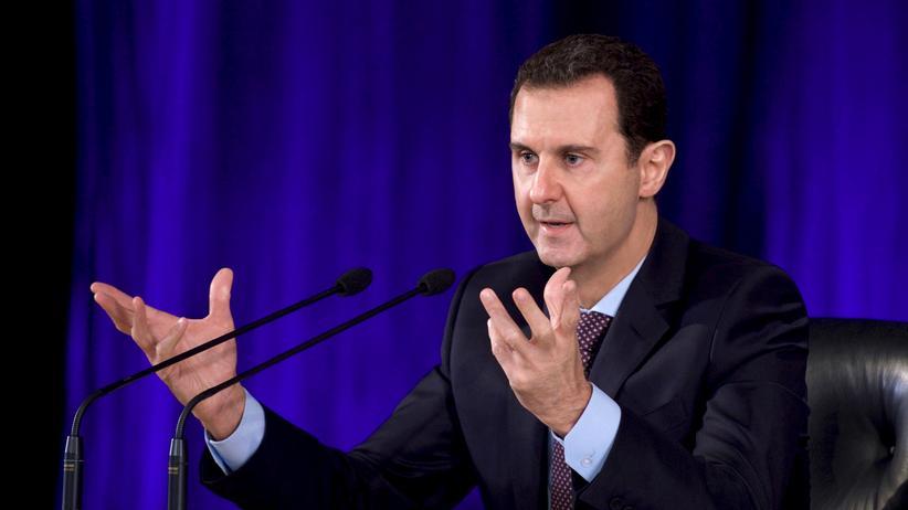 Syriens Machthaber Baschar al-Assad bei einer Rede in Damaskus