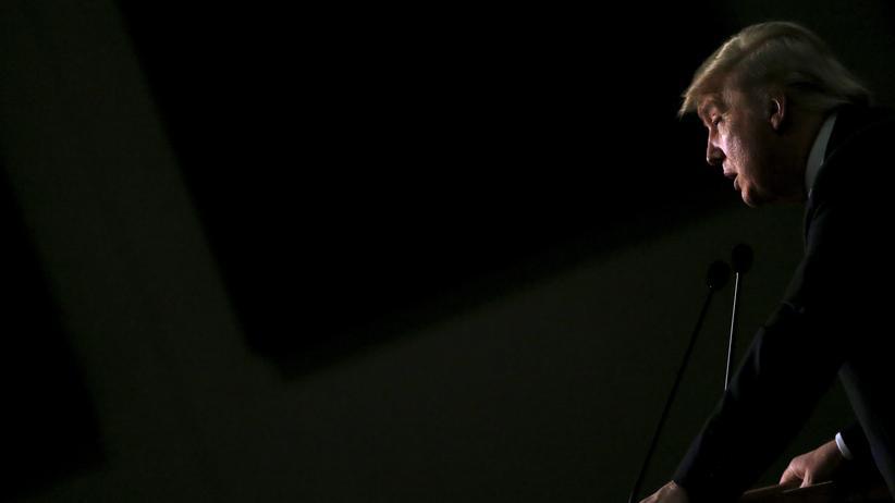 Donald Trump hält eine Wahlkampfrede in Iowa.