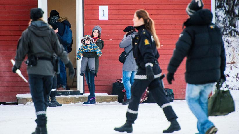 Flüchtlinge an der norwegischen Grenzstation Storskog