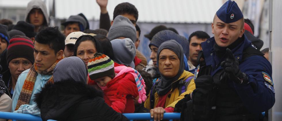Flüchtlinge an der Grenze zwischen Griechenland und Mazedonien