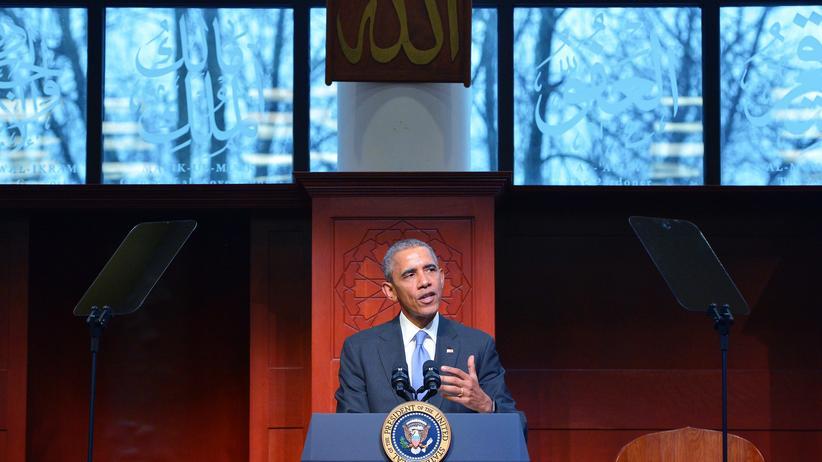 Barack Obama: US-Präsident Barack Obama bei seiner Rede in der Islamischen Gesellschaft in Baltimore